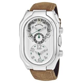 Philip Stein Men's 13-LW-CASTM 'Signature' Silver Dial Tan Leather Strap Dual Time Chronograph Swiss Quartz Watch