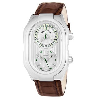 Philip Stein Men's 12-LW-ABR 'Signature' Silver Dial Brown Leather Strap Dual Time Swiss Quartz Watch