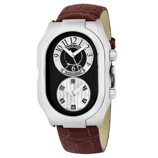Philip Stein Men's 12-BGR-ABR 'Signature' Black Dial Brown Leather Strap Dual Time Swiss Quartz Watch