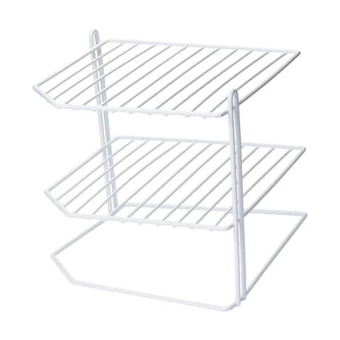 Ybmhome 3 Tier Corner Helper Shelf, White Organizer Free Standing Rack
