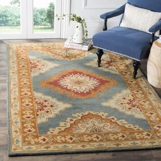 Safavieh Heritage Traditional Oriental Hand-Tufted Wool Blue/ Rust Area Rug (8' Square)