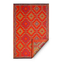 Handmade Fab Habitat Lhasa Indoor/Outdoor Rug, Orange & Violet, - 6' x 9'