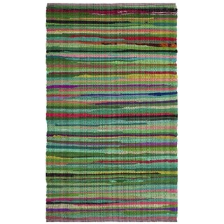 Safavieh Rag Rug Transitional Stripe Hand-Woven Cotton Green/ Multi Area Rug (2' x 3')