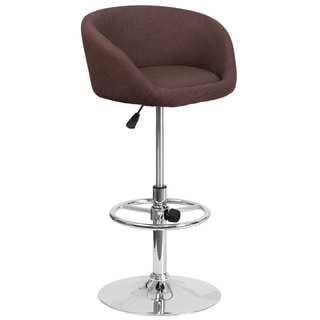 Brown Fabric and Chrome Adjustable Swivel Bar Stool with Rounded-back Design