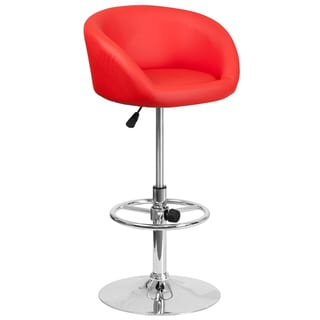 Red Rounded-back Adjustable Swivel Bar Stool