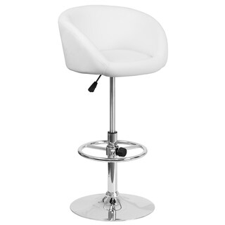 White Faux Leather and Chrome Swivel Adjustable Bar Stool with Rounded Back Design