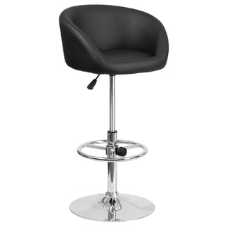 Black Faux Leather and Chrome Swivel Adjustable Bar Stool with Rounded Back