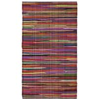 Safavieh Rag Rug Transitional Stripe Hand-Woven Cotton Red/ Multi Area Rug (2' x 3')