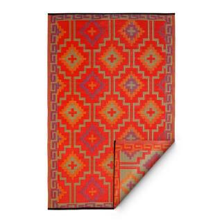 Fab Habitat Lhasa Indoor/Outdoor Rug, Orange & Violet, (4' x 6') - 4' x 6'