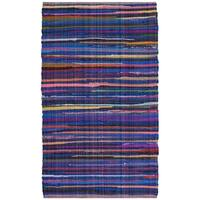 Safavieh Rag Rug Transitional Stripe Hand-Woven Cotton Blue/ Multi Area Rug - 2' x 3'