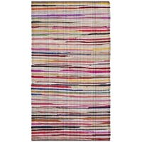 Safavieh Rag Rug Transitional Stripe Hand-Woven Cotton Ivory/ Multi Area Rug (2' x 3')