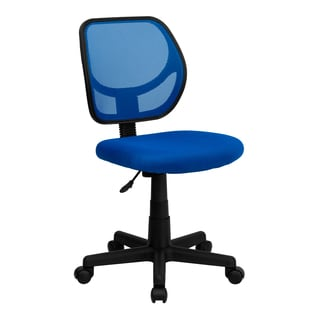 Blue Nylon/Mesh Ventilated Armless Swivel Office Chair