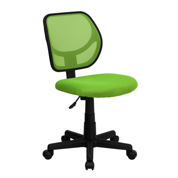 Ventilated Mesh Green Armless Swivel Office Chair With Pneumatic Seat Height Adjustment
