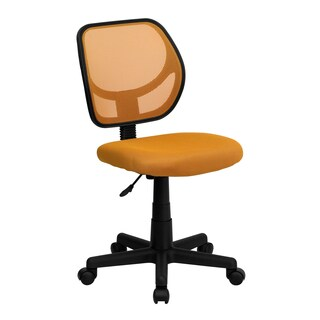Ventilated Mesh Orange Armless Swivel Office Chair with Pneumatic Seat Height Adjustment