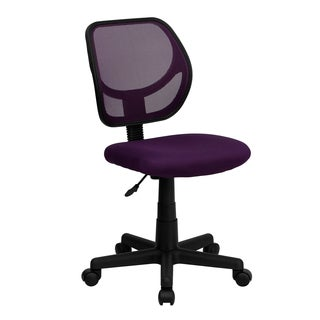 Purple Mesh/Nylon Ventilated Armless Swivel Office Chair with Pneumatic Seat-height Adjustment