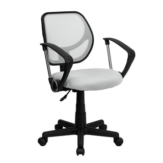 White Mesh Ventilated Swivel Office Chair With Pneumatic Seat Height Adjustment