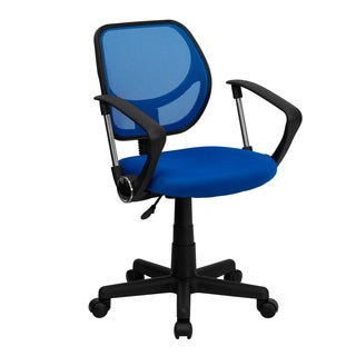 Ventilated Mesh Blue Swivel Office Chair With Pneumatic Seat Height Adjustment