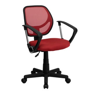 Ventilated Mesh Red Swivel Office Chair With Pneumatic Seat Height Adjustment