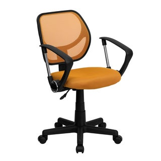Orange Mesh/Nylon/Chrome Ventilated Swivel Office Chair with Pneumatic Seat-height Adjustment
