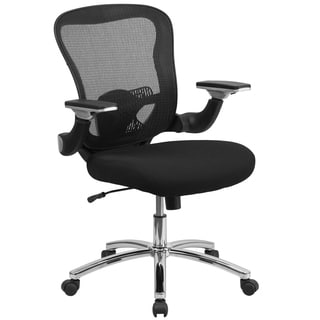 Executive Ventilated Mesh Back Swivel Office Chair With Height Adjustable Flip-up Arms