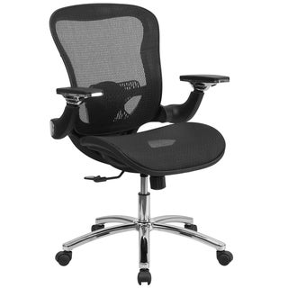 Executive Ventilated Transparent Mesh Swivel Office Chair With Height Adjustable Flip-up Arms