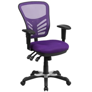 Multi-function Purple Executive Mesh Back Swivel Office Chair with Triple Paddle Control Mechanism