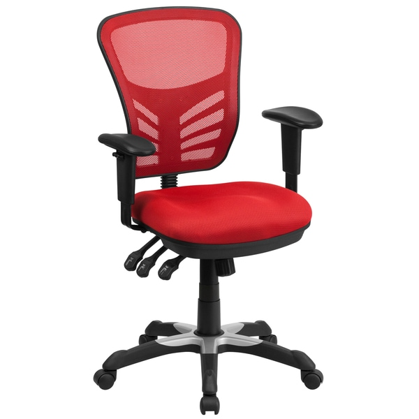 Executive Red Mesh Back Multifunction Swivel Office Chair With Triple Paddle Control Mechanism