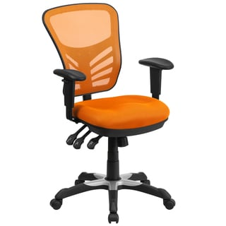 Multifunction Orange Mesh Back Executive Swivel Office Chair With Triple Paddle Control Mechanism