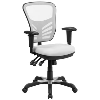 White Mesh-back Multifunction Executive Swivel Office Chair with Triple Paddle Control Mechanism
