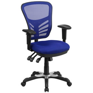 Blue Mesh-back Multifunction Executive Swivel Office Chair with Triple Paddle Control Mechanism
