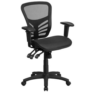 Black Nylon/Mesh/Metal Tripple Paddle Control Executive Office Chair