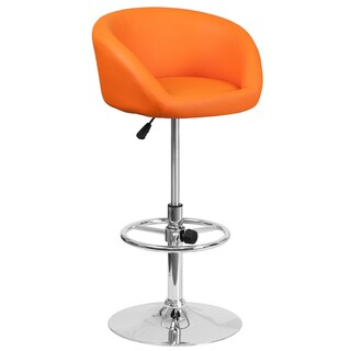 Orange Faux-leather and Chrome Swivel Adjustable Barstool with Rounded Back Design