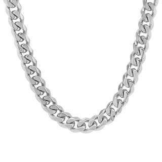 Men's Steeltime Stainless Steel Cuban Necklace - White