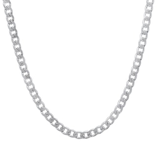 Stainless Steel Cuban Chain Necklace White