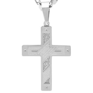 Men's Steeltime Stainless Steel Padre Nuestro Cross Pendant with Bicycle Chain - Silver