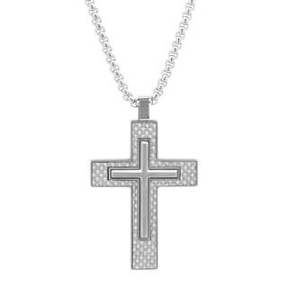 Men's Steeltime Stainless Steel Carbon Fiber Cross Pendant - White