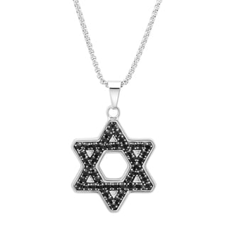 Stainless Steel Star of David Black Cubic Zirconia Necklace