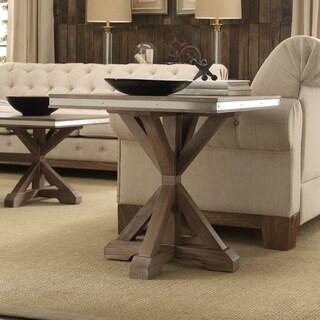 Abbott Rustic Steel Strap Oak Trestle End Table by iNSPIRE Q Artisan