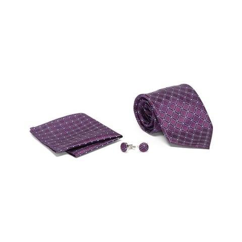 Men's Tie with Matching Handkerchief and Hand Cufflinks-Violet Diamond Design