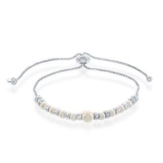 La Preciosa Sterling Silver Alternating Diamond Cut Beads & Swarovski Pearls Adjustable Bracelet