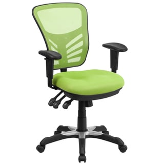Green Mesh/Nylon Multi-function Executive Swivel Office Chair with Triple-paddle Control Mechanism