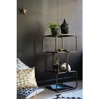 Amrah Home Gold Metal Curved Shelving Unit