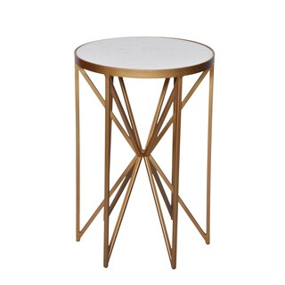 Amrah Home Butterfly Goldtone Marble Metal Side Table