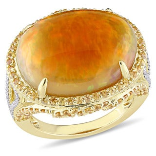 Miadora Signature Collection 14k Yellow Gold Ethiopian Opal Yellow Sapphire and 2/5ct TDW Diamond Vi