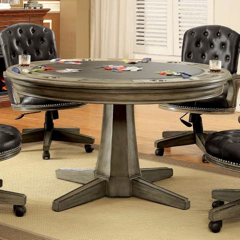 Baletta Traditional Grey Round Game Table with Flippable Cover by FOA