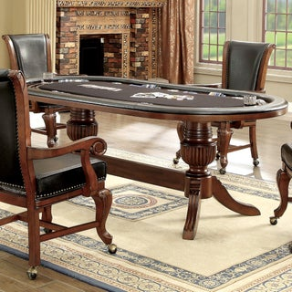 Furniture of America Frankline Traditional Leatherette/Flannelette Game Table with Flippable Wooden Cover (Option: Brown Cherry)