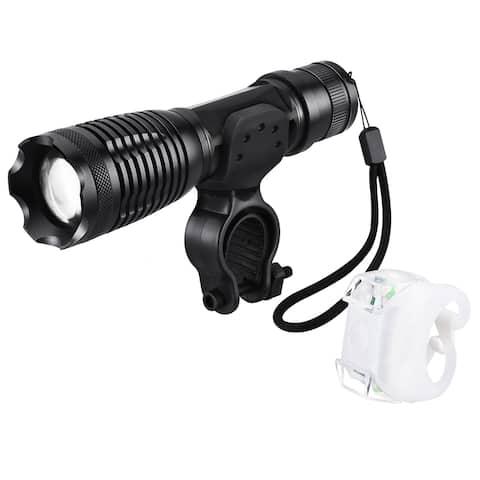 Led Bike Light Set with Bracket, Bicycle Front Flashlight with 5 Light Modes and Rear Bike Light wit