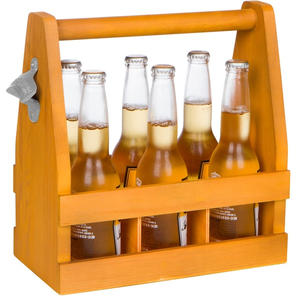 Wooden Caddy Tote for Six Pack Beer and Sodas with Bottle Opener by Trademark Innovations