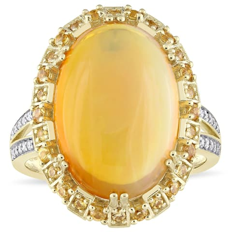 Miadora Signature Collection 14k Yellow Gold Ethiopian Opal Yellow Sapphire and 1/10ct TDW Diamond Ring