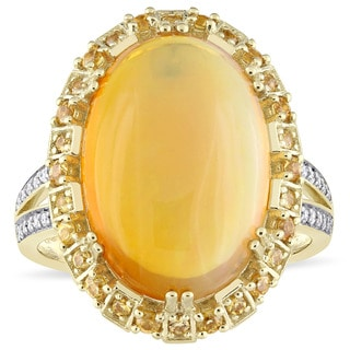 Miadora Signature Collection 14k Yellow Gold Ethiopian Opal Yellow Sapphire and 1/10ct TDW Diamond Vintage Cocktail Ring